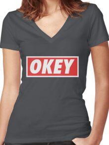 OKEY Women's Fitted V-Neck T-Shirt