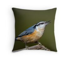 A nuthatch Throw Pillow