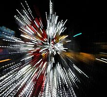 Abstract Christmas Lights in Red and White by Georgia Mizuleva