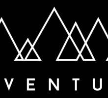 Minimalist: Adventure (White on Black) Sticker