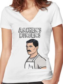 Archer's Burgers Women's Fitted V-Neck T-Shirt