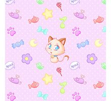 Kawaii chibi cat pattern Photographic Print