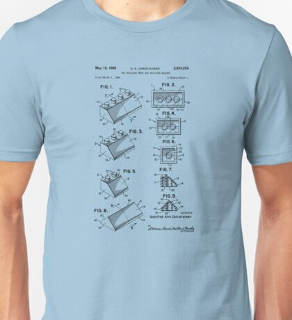Lego Patent Of Roof Tile Brick 2X2/45°, 2x3/45°, 2x4/45° & Slope Brick 2x4 Double In Black Version Unisex T-Shirt