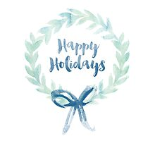 Blue Green Watercolor Christmas Wreath by heartlocked