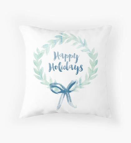 Blue Green Watercolor Christmas Wreath Throw Pillow