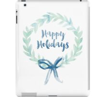 Blue Green Watercolor Christmas Wreath iPad Case/Skin