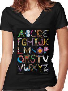 Children's Alphabet (black background) Women's Fitted V-Neck T-Shirt