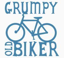 Grumpy old Biker with cycle riding bike bicycle Kids Tee