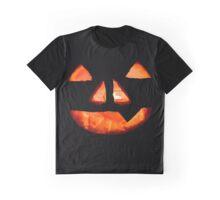 Halloween Glowing Pumpkin Face Graphic T-Shirt