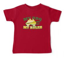 MY BBQ (barbecue) MY RULES Aussie Australian flag and tongs Baby Tee
