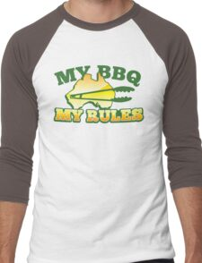 MY BBQ (barbecue) MY RULES Aussie Australian flag and tongs Men's Baseball ¾ T-Shirt