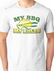 MY BBQ (barbecue) MY RULES Aussie Australian flag and tongs Unisex T-Shirt