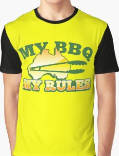 MY BBQ (barbecue) MY RULES Aussie Australian flag and tongs Graphic T-Shirt
