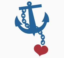NAVY blue anchor with a love heart One Piece - Short Sleeve