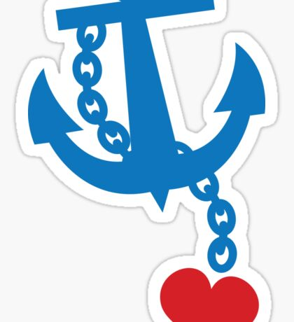 NAVY blue anchor with a love heart Sticker