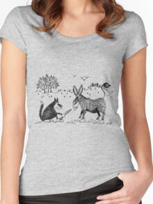 Puss and donkey Women's Fitted Scoop T-Shirt