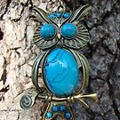 Vintage Blue Owl Necklace by shandab3ar