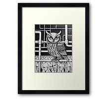 Urban Owl surreal pen ink black and white drawing Framed Print