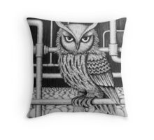 Urban Owl surreal pen ink black and white drawing Throw Pillow
