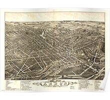 Panoramic Maps view of the city of Akron Summit County Ohio 1882 Poster