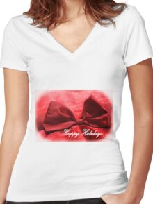 Happy Holidays Red Bow 1 Women's Fitted V-Neck T-Shirt