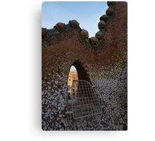 Barcelona Through Gaudi's Whimsical Little Window on the Tiled Roof of Casa Batllo Canvas Print