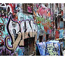 Bins, Alley and Graffiti Photographic Print
