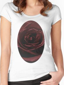 Textured Red Rose Women's Fitted Scoop T-Shirt