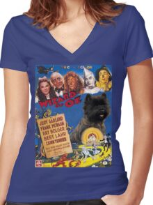 Cairn Terrier Art - The Wizard of Oz Movie Poster Women's Fitted V-Neck T-Shirt