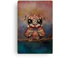 little rainbow flower owl Canvas Print