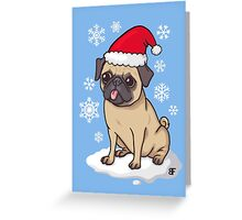 Christmas Pug (blue) Greeting Card