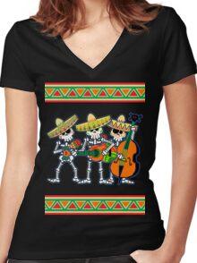 los músicos de los muertos Women's Fitted V-Neck T-Shirt