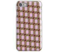 That 70's Design - Brown Grey Pink on Maroon Background iPhone Case/Skin