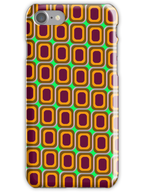 That 70's Design - Brown Orange Maroon on Lime Background by Bryan Freeman