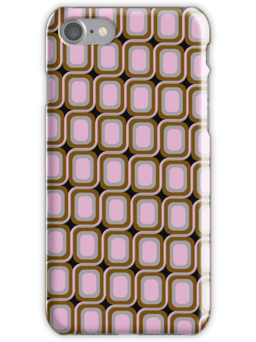 That 70's Design - Brown Grey Pink on Black Background by Bryan Freeman