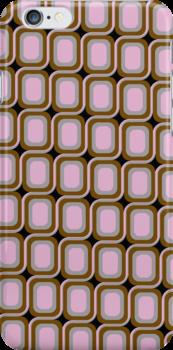 That 70's Design - Brown Grey Pink on Black Background by Bryan Freeman