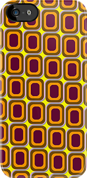 That 70's Design - Brown Orange Maroon on Yellow Background by Bryan Freeman