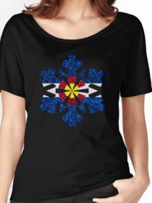 Glitter Colorado flag snowflake Women's Relaxed Fit T-Shirt