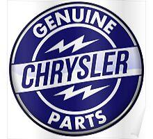 Chrysler Original Parts vintage sign. Crystal version Poster