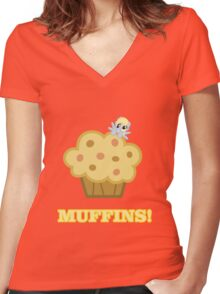 Derpy (Ditzy Doo) - Muffins! - (My Little Pony Friendship is Magic) Women's Fitted V-Neck T-Shirt