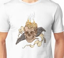 illustration of a skull with spirits and bird holding medalion Unisex T-Shirt