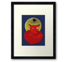 Red Cat Demon up to no good under a bad moon Framed Print