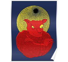 Red Cat Demon up to no good under a bad moon Poster