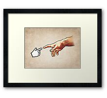 Funny 8bit Nerd & Geek Humor (Creation of Adam Parody) Framed Print
