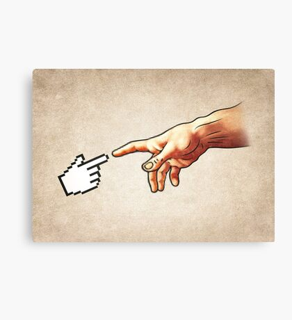 Funny 8bit Nerd & Geek Humor (Creation of Adam Parody) Canvas Print