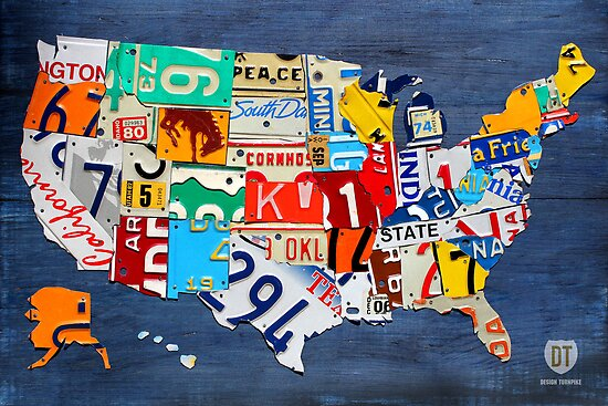 License Plate Map of The United States 2012 on Blue by designturnpike
