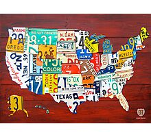 License Plate Map of The United States 2012 Red Version Photographic Print