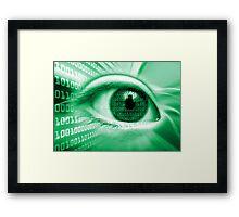 ON THE NET GREEN BINARY EYE GRAPHIC DESIGN Framed Print