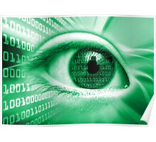 ON THE NET GREEN BINARY EYE GRAPHIC DESIGN Poster