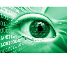 ON THE NET GREEN BINARY EYE GRAPHIC DESIGN Photographic Print